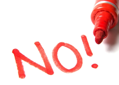 No! written in marker